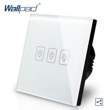 цена на 3 Gang 2 Way 3 Way Eu European Switch 110V-240V Wallpad White Crystal Glass LED 3 Gang 2 Way Touch Light Switch EU Free Shipping