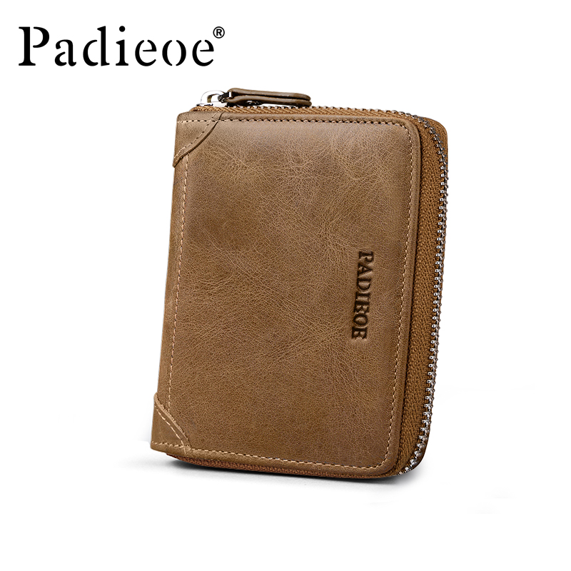 Padieoe vintage genuine leather men wallets short casual male zipper purse card holder wallet with coin pocket male leather casual short design wallet card holder pocket