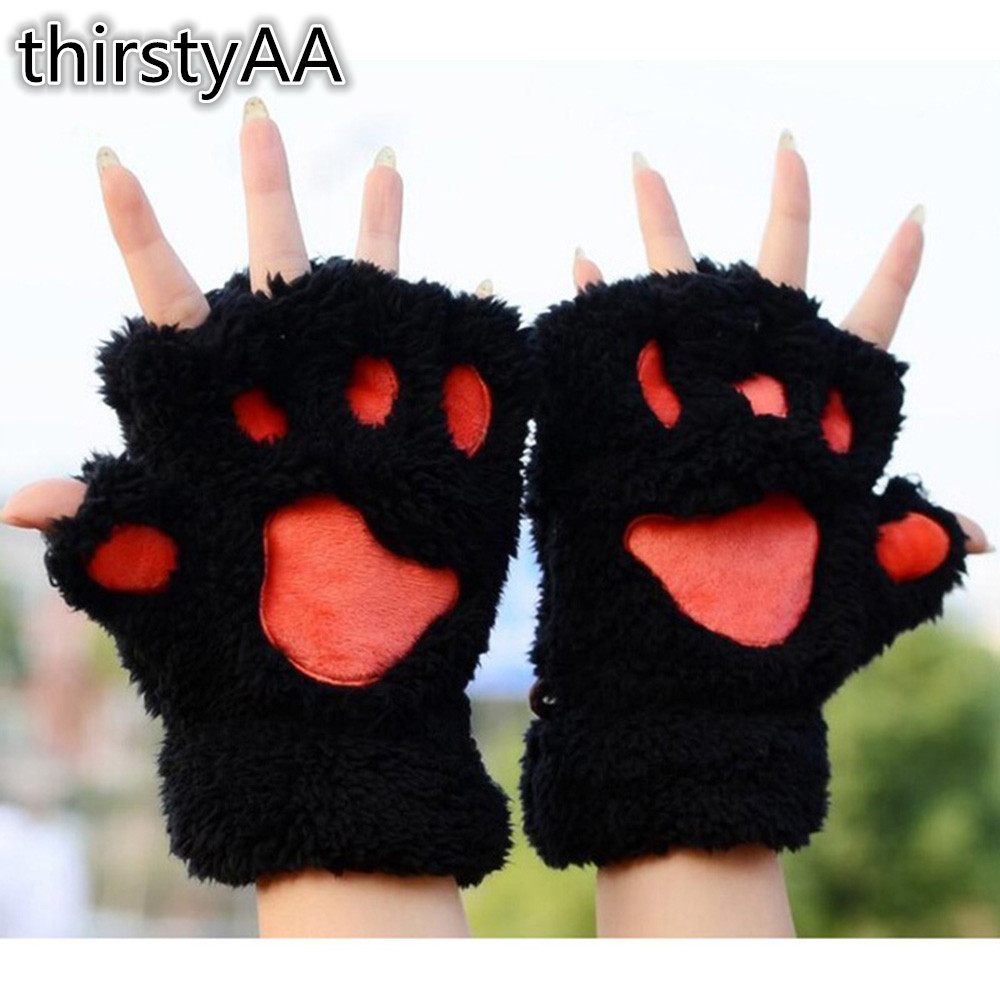 Womens Vivid Cat Bears Paw Claw Half Finger Gloves Cute Winter Hot Wrist Bear Red Warm Furry