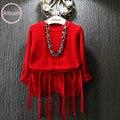 Moda infantil meninas roupas de inverno blusas de malha pulôver vermelho borla curto calças set 2 pcs Vermelho longo camisa de ciclismo + short terno 2-8 Ys