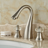 2016 Fashionable Waterfall Spout Design Dual Handles Three Holes Basin Countertop Faucet Brushed