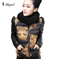 2017 Women Casual Slim Wadded Jacket Cotton Padded Jackets Solid Parka Tiger Print Down Coat With Scarf Winter Outwear Plus Size