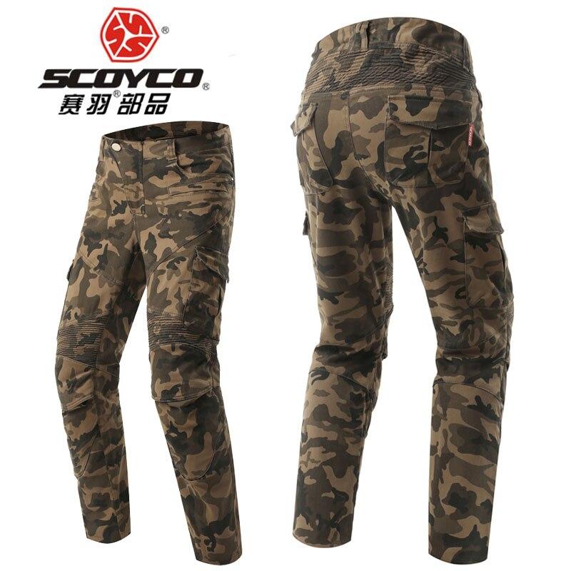 2017 SCOYCO мотоциклетные штаны для езды стрейч камуфляжные джинсы локомотив ретро повседневные рыцарские штаны EVA бедра CE наколенники