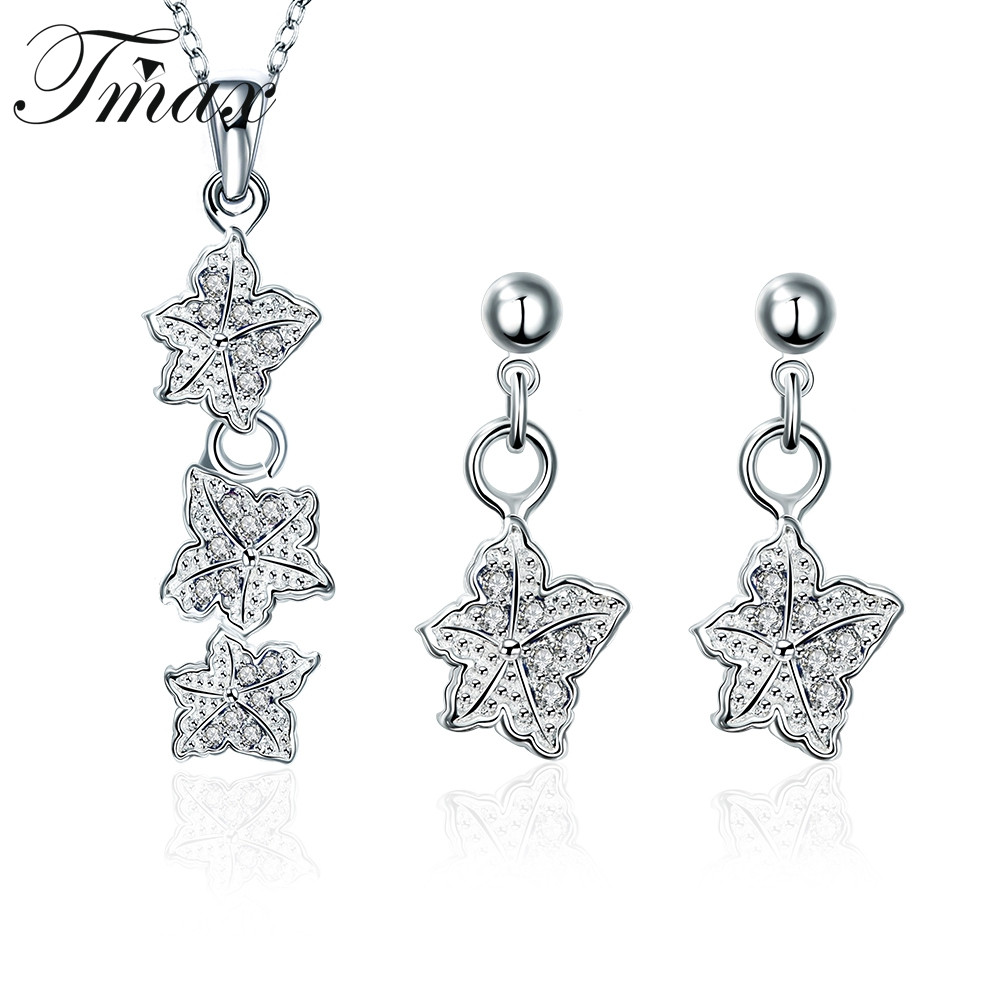 Necklaces Pendant Earring Jewelry Sets Silver Plated Hot Sale White Flowers Fall Trendy Wedding for Women