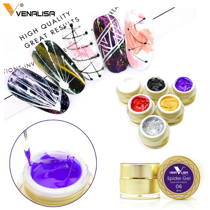 2018 Newest Draw Painting Gel Spider Gel Nail Art Design Pure Color Soak off UV LED 3D Emboss Jelly Glass Sliver Painting Gel