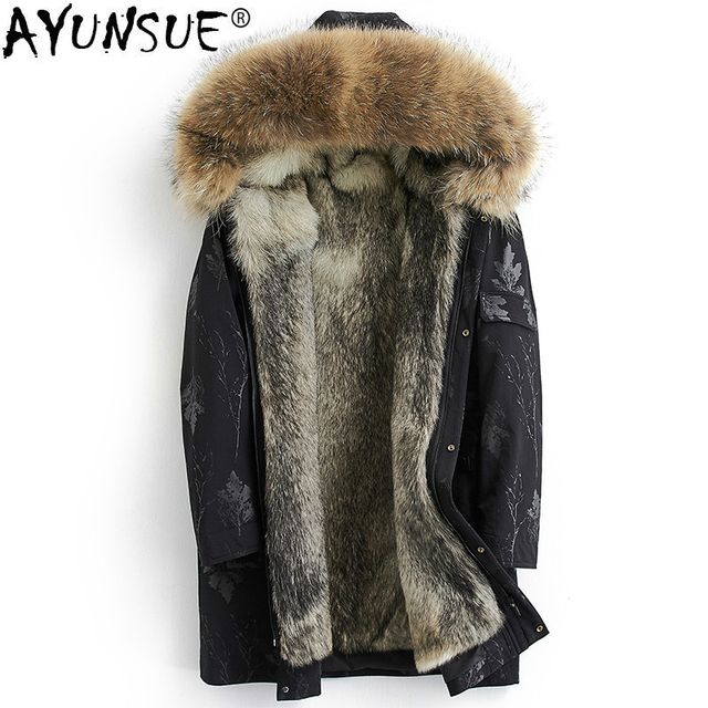 ea4bd59bea54 AYUNSUE Real Fur Coat Men Winter Jacket Parka Wolf Fur Liner Raccoon Fur  Collar Long Parkas Hombre Veste Homme Hiver KJ1459