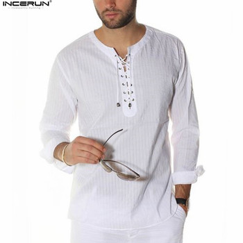 INCERUN Plus Size S-3XL Men Casual Shirts Long Sleeve Solid Lace Up Tunic Tops Men Vintage Slim Male Blouse Chemise 2020 Autumn cold shoulder lace up striped blouse