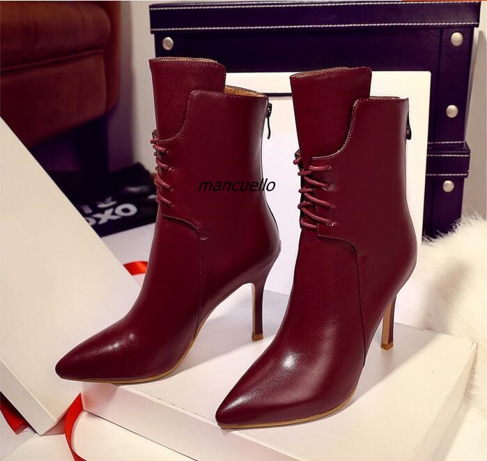 Trend Fashion Pointy Stiletto Heel Boots Women Burgundy PU Leather Lace Up Shoes Sexy Slim Fit Real Back Zipper Ankle Boots burgundy sexy suede lace up back design vest