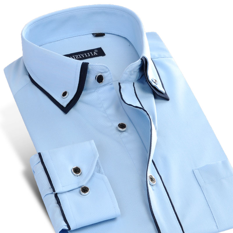 Men's Solid Long-sleeved Double Layer Collar with Black Piping Dress Shirt Single Pocket Business Casual Slim-fit Twill Shirts