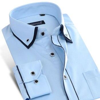 Sólido Longo-sleeved dos homens Gola Dupla Camada com Debrum Preto Vestido Camisa Bolso Único Business Casual Slim- fit Camisas de Sarja