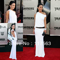 Megan Fox no de 2 no branco de um ombro andar de comprimento celebridade vestido CD024