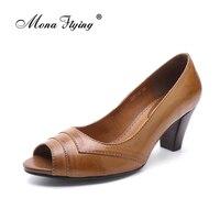 Las mujeres Peep Toe Sandalias de Las Bombas 2017 Marca Cuero Genuino de Las Mujeres Del Hight Zapatos de Vestido Del talón para Las Mujeres Señora de la Oficina de Tamaño Grande Bombas 205-A2