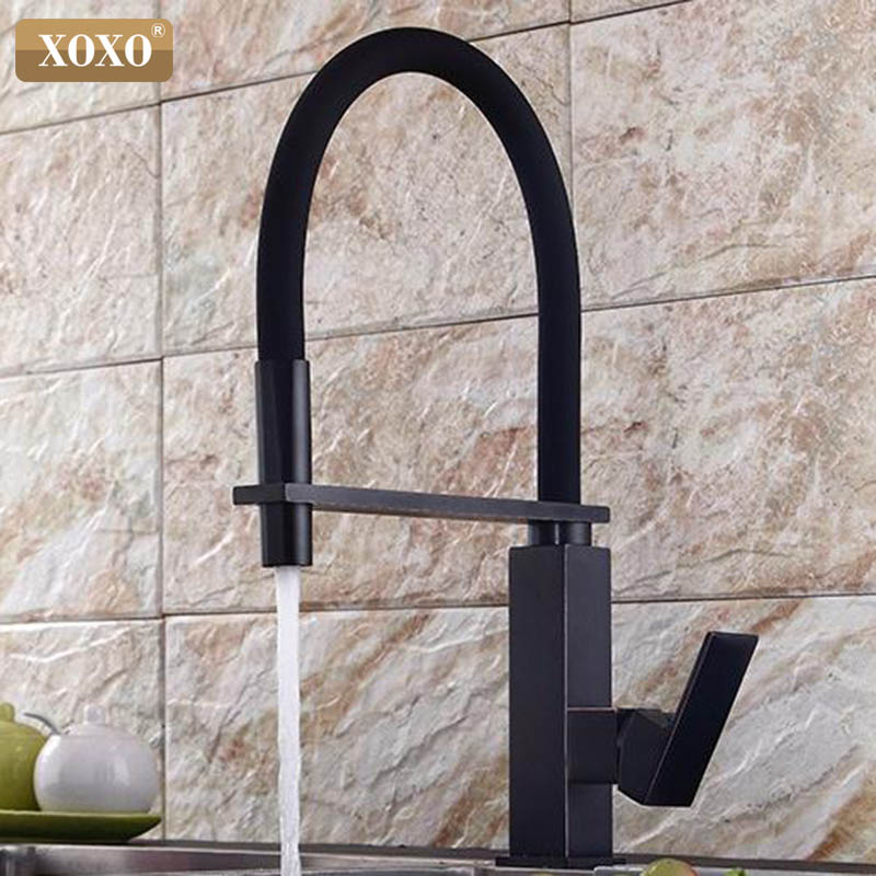XOXO Kitchen Faucets Pull Down Black Kitchen Tap Sink Crane Cold And Hot Single Hole Torneira De Cozinha Mixer Water Taps 1344