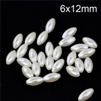 6x12mm Cut And Polished Pearl Beads Ivory Rice Shape Smooth 500 Pieces Plastic Pearl Beads For