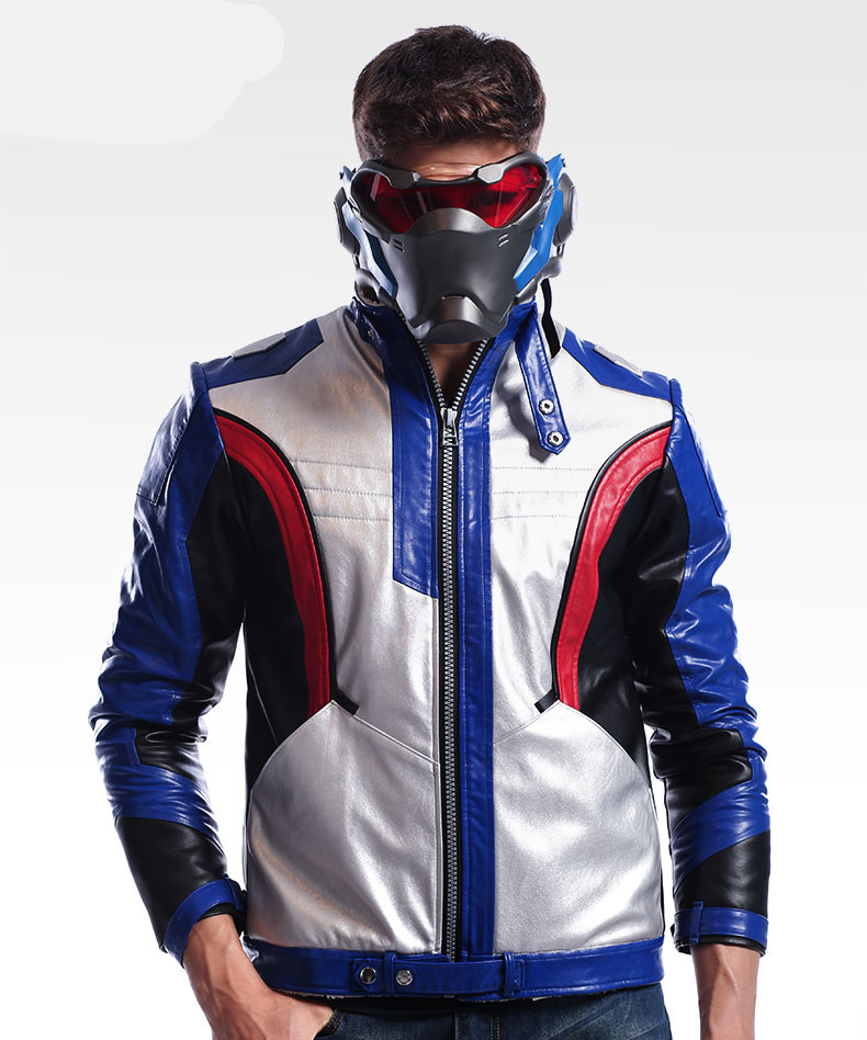 цены High Quality PU leather Upgrade Game OW soldier 76 cosplay Motorcycle Jackets Super cool M-3XL in few stock New 2017 free shippi