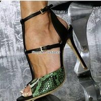 ALMUDENA Women Sexy Green Blue Snakeskin High Heel Pumps Thin Buckle Strap Stiletto Heels Patchwork Party Shoes Python Footwears