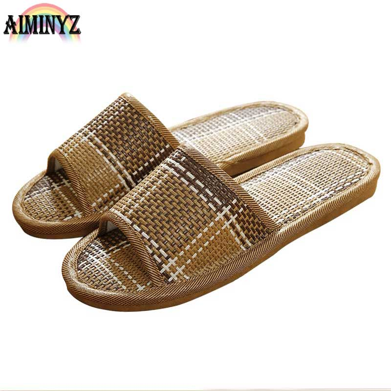 e4790459a26 Lattice Rattan Natural Flax Slippers Summer Women Beach Cane Grass Weaving  Couples Shoes Men Sandals Ladies Plat Flip flops