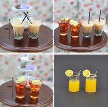 1:12 Resin Dollhouse Mini Lemon Milk Tea Water Cup Miniature Accessories Cups Toy Decoration Gifts Furniture Toys