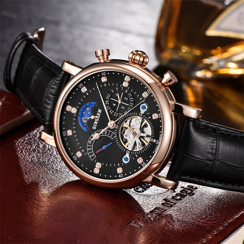 BINSSAW New 2018 Heren Volautomatisch mechanisch horloge Tourbillon - Herenhorloges - Foto 4