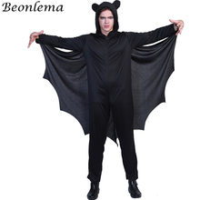 Beonlema Homme Kawaii Halloween Bat Role Play Clothes Fancy Black Jumpsuit Men Halloween Party Costumes Cute Playing Disfrace(China)