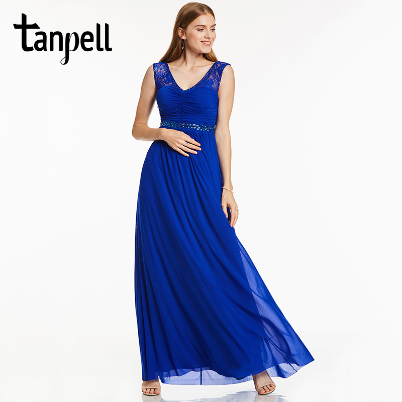 Tanpell long evening dress royal blue scoop sleeveless crystal lace straight floor length gown women party