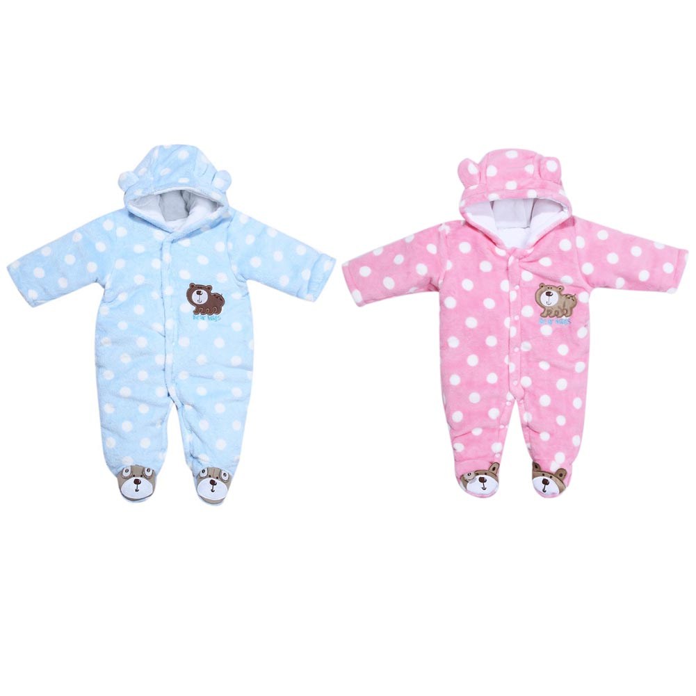 Cute Unisex Newborn Baby Kids Clothes Warm Coral Velvet Polka Dot Long Sleeve Romper Jumpsuit Baby Girls Boys Romper puseky 2017 infant romper baby boys girls jumpsuit newborn bebe clothing hooded toddler baby clothes cute panda romper costumes