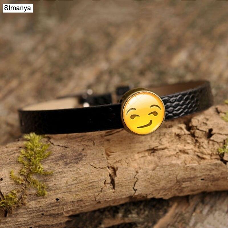 Fashion face expression Bracelet men women Retro Leather Simple Bracelets Yoga Jewelry Party Gift B1135
