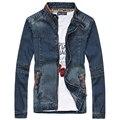 4XL 5XL Plus Size Jaquetas Jeans Para Homens Primavera Outono Azul masculino Gola Jaqueta Jeans Azul Jeans Mens Casual Jaquetas Casacos