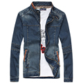 4XL 5XL Plus Size Jean Jackets For Men Spring Autumn Blue Male Blue Denim Jacket Stand Collar Mens Casual Jeans Jackets Coats