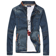 4XL 5XL Plus Size Jean Jackets For Men Spring Autumn Blue Male Blue Denim Jacket Stand Collar Mens Casual Jeans Jackets Coats