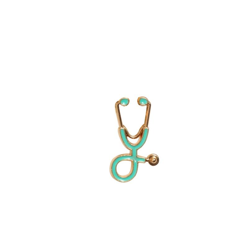 Креативные разноцветные броши, 18 стилей, стетоскоп доктора медсестры, эмалированные булавки, медицинские джинсовые куртки, сумки, ювелирные изделия, значки, подарки - Окраска металла: gold blue