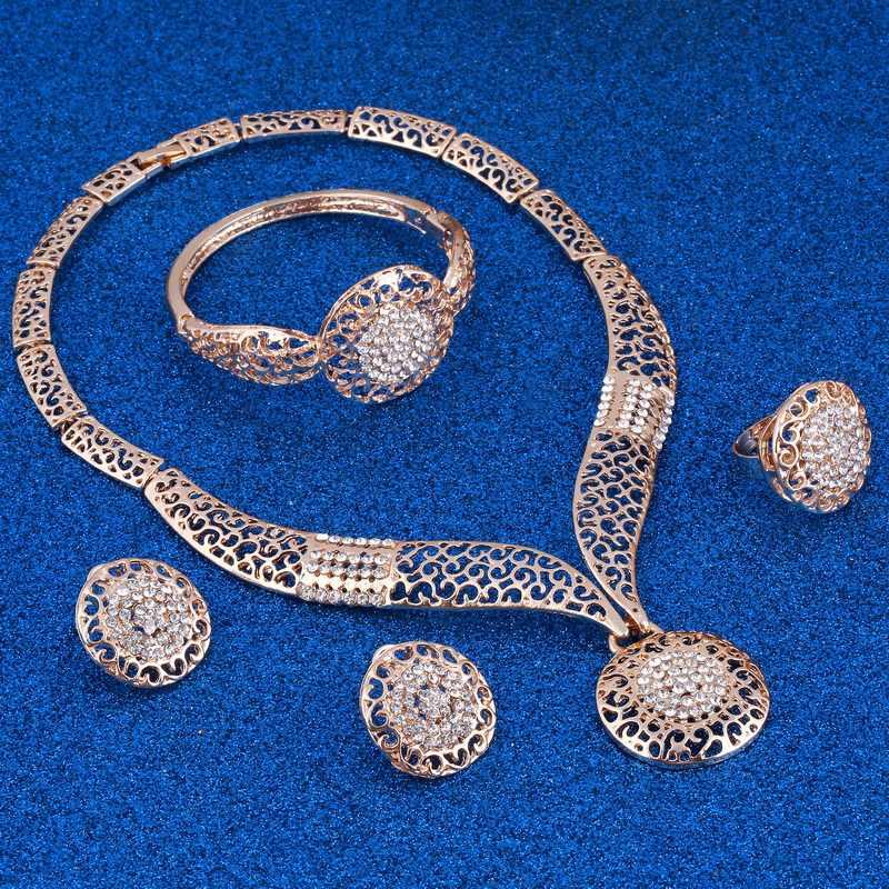 Exquisite Dubai gold Jewelry Set amazing price Luxury Nigerian Woman Wedding Fashion African Beads Jewelry Set Costume Design