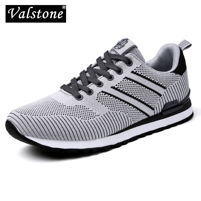 Valstone Men's sneakers Summer trainers Breathable Mesh air upper anti-slip cemented shoes light weight outdoor footwear Grey