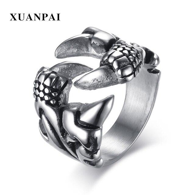 a369675fd092 Hip Hop plata antigua del hueso de mano del cráneo del acero inoxidable garra  anillo Harley Biker hombres anillos Punk Rock gótica masculina regalos  joyería