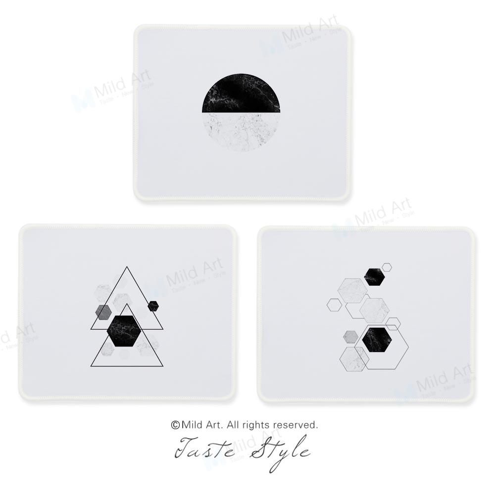 Nordic Style Modern Abstract Black and White Geometric Marble Custom Prints Creative PC Gifts Gaming Computer Mouse Pad Mats Set