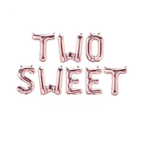 Image 3 - 1 Juego de globos de aluminio con forma de letras, 16 pulgadas, oro rosa, dos dulces globos de Donut para baby shower, decoración de fiesta de 2 ° cumpleaños, proveedor de fiesta