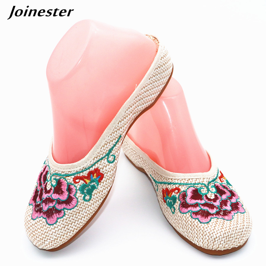 Special Offer Women's Summer Canvas Slipper Floral Embroider Breathable Casual Slides Flat Heel Walking Shoe Standard Size