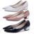 Blanco con el solos zapatos del talón grueso dedo del pie puntiagudo 2015 cuero japanned moda boca baja de cuero mujer