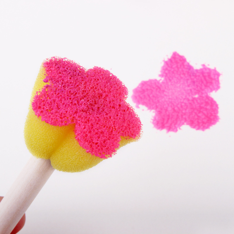 BalleenShiny-5Pcs-Creative-Sponge-Brush-Children-Art-DIY-Painting-Tools-Baby-Funny-Colorful-Flower-Pattern-Drawing