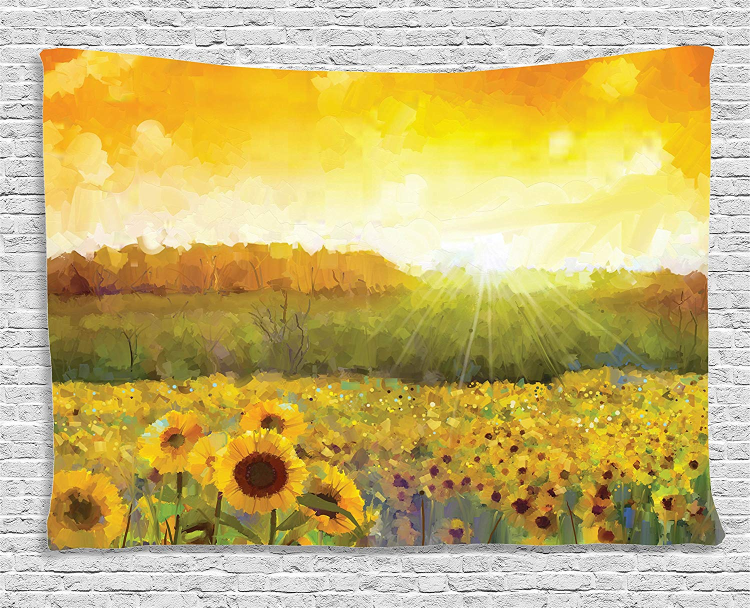Sunflower Tapestry Landscape with A Golden Yellow Sunflower Field ...