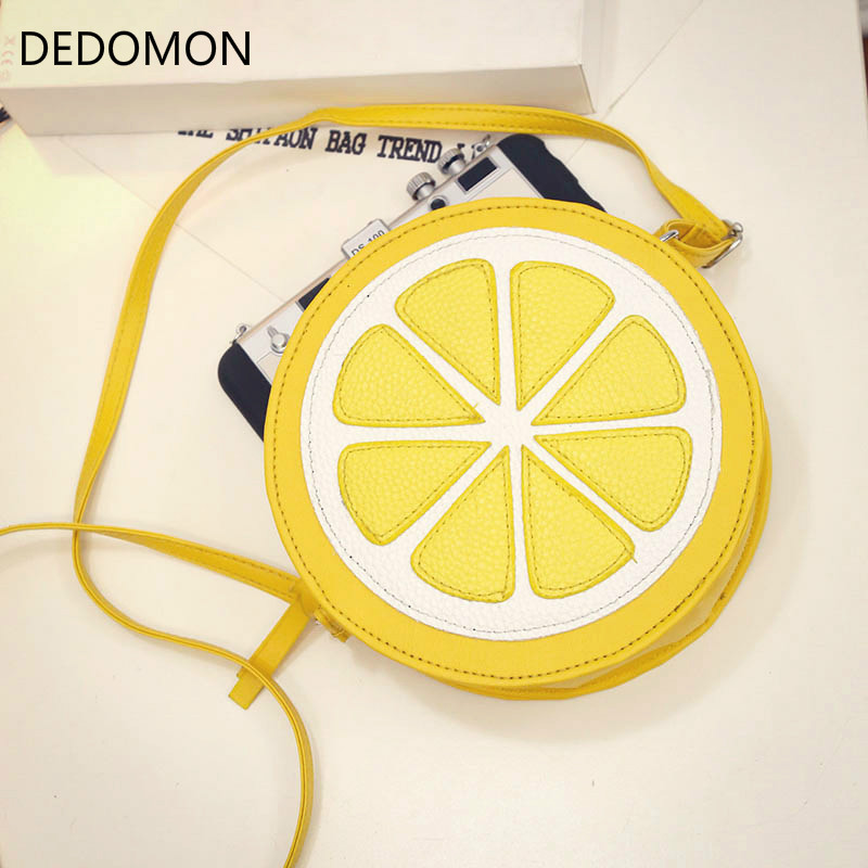 2018 Circular Orange Lemon Women Bag Zipper Messenger Bags Crossbody Waterproof Handbags Brand Designer Purse Lady Shoulder Bags