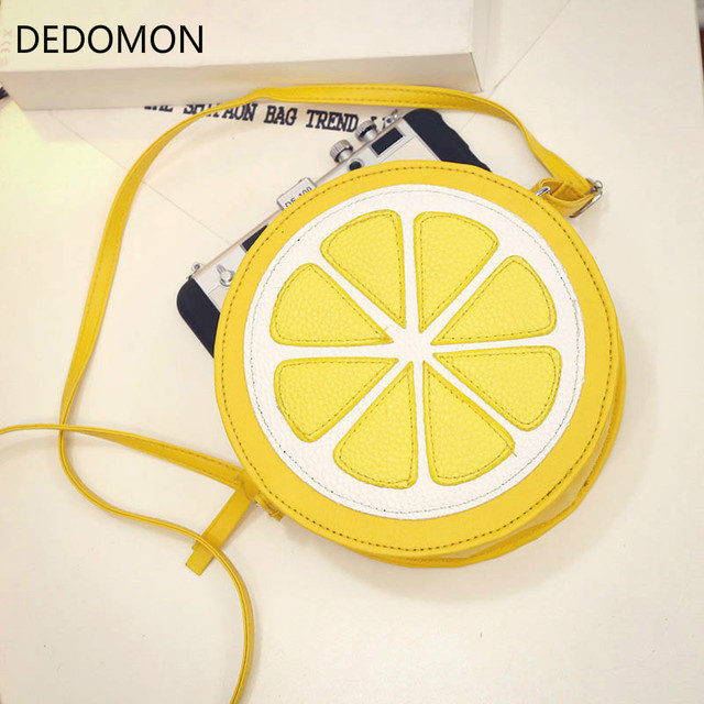 2018 Circular Orange Lemon Women Bag Zipper Messenger Bags Crossbody  Waterproof Handbags Brand Designer Purse Lady Shoulder Bags 98c19e7dbac74