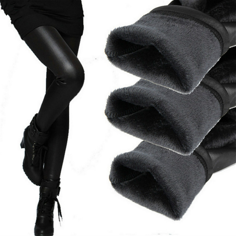 Leggings Women Lulu Fitness Winter Legging Leather Pants Fleece Warm Trousers Female Warm Black Women Pencil Pants Hot Selling