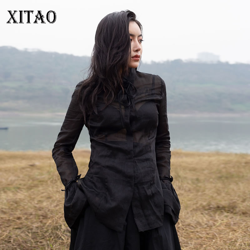 XITAO 2019 Spring Summer Korea Fashion New Turn down Collar Full Sleeve Shirt Female Solid