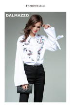 DALMAZZO 2017 Fashion Spring Autumn Women Cotton Flare Sleeve Blouse Print Embroidery Long Sleeve Turn-down Collar Shirt Tops