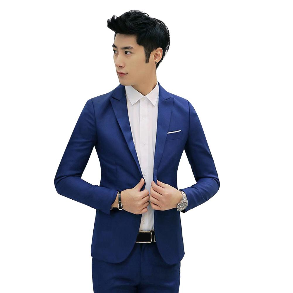 Suit Jacket Coat Cotton Blazer Slim-Fit One-Button Wedding Fashion 3XL Men Solid-Color