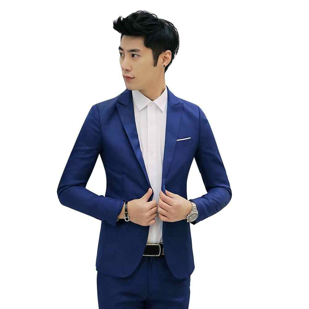 男性ファッションスリムフィットワンボタンカジュアルスーツコートソリッドカラーのコットンブレザースーツのジャケットの結婚式ビジネスジャケットサイズ M に 3XL