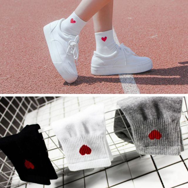1 Pair New Kawaii Cute Socks Women Red Heart Pattern Soft Breathable Cotton Socks Ankle-High Casual Comfy Socks Spring Style