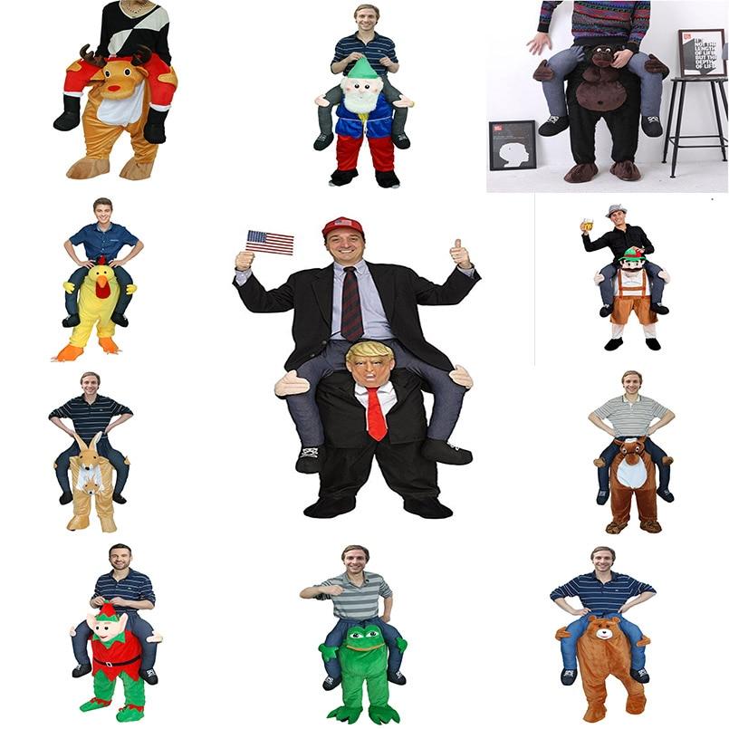 ตลกคอสเพลย์ Donald Trump คริสต์มาสฮาโลวีน Party Horse Ride เสื้อผ้า Novelty Carry Back กลางแจ้งของขวัญของเล่นสำหรับผู้สูงอายุ-ใน สัตว์ขี่ของเล่น จาก ของเล่นและงานอดิเรก บน   1