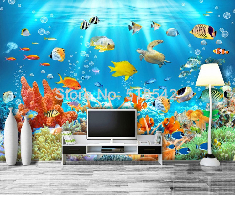 HTB1HCmUPVXXXXaqXFXXq6xXFXXXg - Custom Photo Mural Non-woven Embossed Wallpaper Underwater World Fish Coral Children Room Living Room Wall Decoration Wallpaper